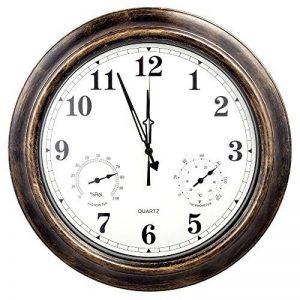 Jopee Horloge murale murale Decor-18pouce extérieur Décor murs avec la température et l'humidité, résistance aux intempéries, grande horloge pour terrasse, piscine, salle de séjour, chambre à coucher, den, et bureau–Bronze, métal, Include second hand d image 0 produit