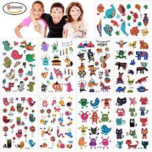 Konsait 160pcs tatouages temporaire tatoo pour enfants fille garçons, Étanche Tatouages éphémères fleur Papillon animaux pour enfants de fête d'anniversaire cadeau de la marque Konsait image 0 produit