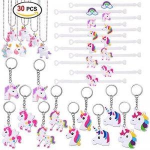 Konsait Licorne porte-clés (12pcs) Licorne Bracelets en Caoutchouc (12pcs) Licorne Collier (6pcs) pour enfants filles anniversaire cadeau Jouets kit de Fête de la marque Konsait image 0 produit