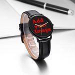 [Kosung] Drapeau arc-en-ciel montre bracelet, personnalisée imperméable unisexe en acier inoxydable poignet montre à quartz avec bracelet cuir PU Noir pour Business Casual Collection Purpose de la marque KOSUNG image 3 produit
