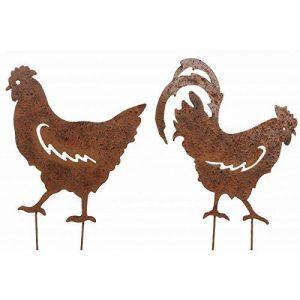 L'Héritier Du Temps Couple Coq et Poule sur Pic Lot de 2 Statut de Jardin Plaque en Métal Décoration à Piquer en Fer Marron 0,2x32x48cm de la marque L'Héritier Du Temps image 0 produit