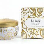 La Jolie Muse Bougie parfumée à la cire de soja à 100% Aromathérapie à la vanille et à la noix de coco pour soulagement de stress boite de voyage de 45Heures de la marque La Jolie Muse image 1 produit