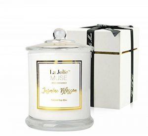 La Jolie Muse Bougies Parfumées De Jasmine Bougie De Pure Cire De Soja Fin Parfum De Maison D'une Longue Durée De 60 Heures Et De Forte Odeur de la marque La Jolie Muse image 0 produit