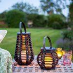 Lanterne Solaire Grande Effet Rotin avec Bougie LED pour Jardin par Lights4fun de la marque Lights4fun image 2 produit