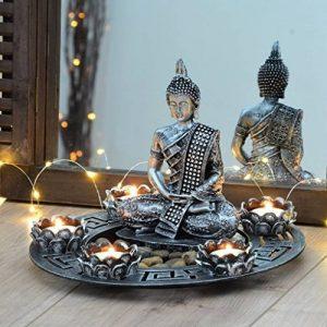 Large Ø 27cm argent statue figure Bouddha Photophore + Lot de 5 petites bougies et pierres de déco de la marque INtrenDU image 0 produit