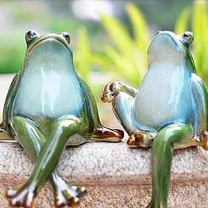 Lazy Puppy Garden Sculptures et Statues en céramique Couple Grenouille Décoration de jardin de la marque Lazy Puppy image 0 produit