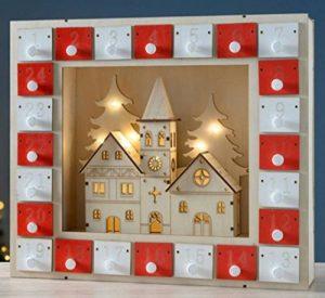 LD Noël Blanc & Rouge décoratif en bois Village Scène aufleuc htend Calendrier de l'Avent Décoration de Noël de la marque LD image 0 produit