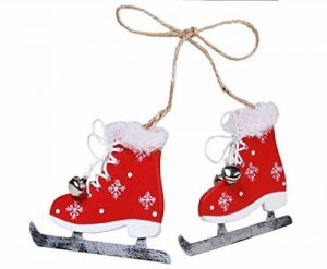 LD Noël décoratif Patins à glace Paire de patins à glace hiver Noël Rouge Blanc Décoration (Délai de livraison est 3–7jours) de la marque LD image 0 produit