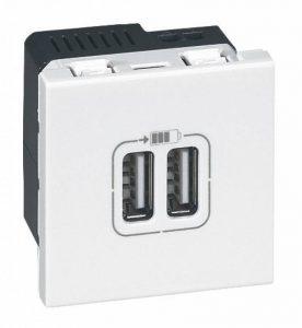 Legrand LEG99604 Prise chargeur 2 USB mosaic modules enjoliveur Blanc de la marque Legrand image 0 produit