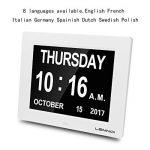 """Lemnoi 8"""" Pouce LCD Horloge Numérique Calendrier Date Jour Et Heure Horloge Non-Abrégée Auto Dimming 8 langues HD Display Rappel pour Alzheimer les personnes âgées et les enfants de la marque Lemnoi image 4 produit"""