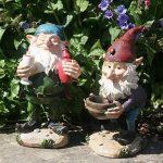 Leo et Leonard Paire de nains de jardin avec bol et verre, jardin, fée Ornement Statues de la marque FHFY Garden image 2 produit