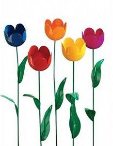 Les 5 tulipes multicolore métal à planter déco jardin de la marque LCDBA image 0 produit