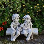 Les enfants figurent sur le banc fonte en pierre résistant au gel de la marque gartendekoparadies.de image 1 produit