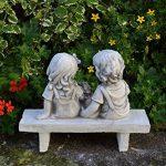 Les enfants figurent sur le banc fonte en pierre résistant au gel de la marque gartendekoparadies.de image 2 produit