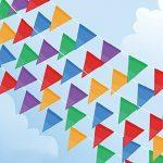 Linxii 150pcs Multicolore Tissu fanions drapeaux réutilisables pour accessoires de fête Décorations (263Pieds) de la marque Acooe image 1 produit