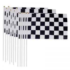 Lot de 12pcs 30 x 20cm Mini Drapeau à Damiers Noir & Blanc Fanion avec Mâts pour F1 Racing Course de Formule Un de la marque Générique image 0 produit