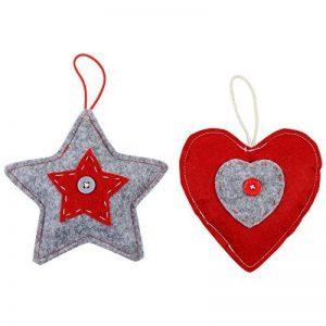 Lot de 2 Décorations en Forme d'Étoile et de Coeur en Feutre Rouge et Gris - Décorations Suspendues Pour Sapin de Noël de la marque Christmas Boutique image 0 produit