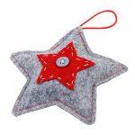 Lot de 2 Décorations en Forme d'Étoile et de Coeur en Feutre Rouge et Gris - Décorations Suspendues Pour Sapin de Noël de la marque Christmas Boutique image 2 produit