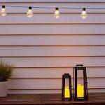 Lot de 2 x Lanternes Solaires Noires en Métal avec Bougie LED pour Jardin par Lights4fun de la marque Lights4fun image 1 produit