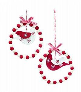 Lot de 8en bois Rouge et blanc perlé Décoration d'arbre de Noël avec Blanc Dove de la marque toyland® image 0 produit