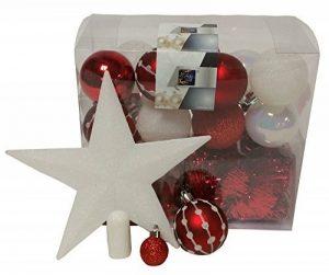 Lot déco Noël - Kit 44 pièces pour décoration sapin : Guirlandes, Boules et Cimier - Thème couleur : Blanc et Rouge de la marque FEERIC LIGHTS & CHRISTMAS image 0 produit