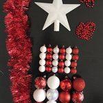 Lot déco Noël - Kit 44 pièces pour décoration sapin : Guirlandes, Boules et Cimier - Thème couleur : Blanc et Rouge de la marque FEERIC LIGHTS & CHRISTMAS image 1 produit