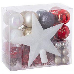 Lot déco Noël - Kit 44 pièces pour décoration sapin : Guirlandes, Boules et Cimier - Thème couleur : Blanc, Rouge, Or et Gris de la marque FEERIC LIGHTS & CHRISTMAS image 0 produit