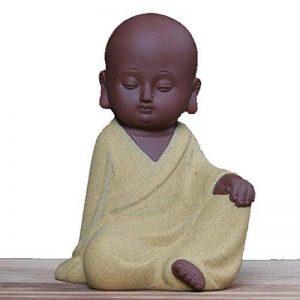 Lu2000mignon en céramique Petit moine Bouddha Sculpture Creative Statue Home Office Fine Art Bureau livre de Décor–Jaune de la marque LU2000 image 0 produit