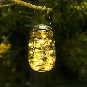 Lumières de Jardin Solaire - Lampe Led Solaire Mason Jar Lumières Guirlande Led De Jardin Eclairage exterieur Solaire pour Jardin, Patio, Pont, Allée et Garage comme applique exterieur (Blanc chaud) de la marque SENYANG image 0 produit