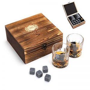 Luxe pierres à whisky avec verres à whisky et étui Ensemble cadeau: réutilisable Chilling Rocks refroidissement boissons sans Dilution- Premium haute qualité Cadeau d'anniversaire ou de Plaisir pour votre Self de la marque Luxury Whiskey Stones image 0 produit