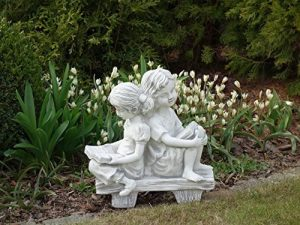Magnifique statue de fille sur un banc en pierre de fonte, résistant au gel de la marque gartendekoparadies.de image 0 produit