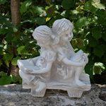 Magnifique statue de fille sur un banc en pierre de fonte, résistant au gel de la marque gartendekoparadies.de image 1 produit