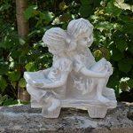 Magnifique statue de fille sur un banc en pierre de fonte, résistant au gel de la marque gartendekoparadies.de image 2 produit
