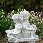 Magnifique statue de fille sur un banc en pierre de fonte, résistant au gel de la marque gartendekoparadies.de image 4 produit