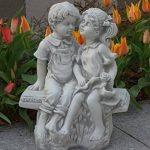 Magnifique statue de garçon et fille sur un banc en pierre de fonte, résistant au gel de la marque gartendekoparadies.de image 1 produit