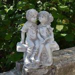 Magnifique statue de garçon et fille sur un banc en pierre de fonte, résistant au gel de la marque gartendekoparadies.de image 4 produit
