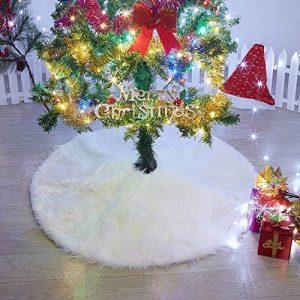 Marry Acting Couvre-pieds de sapin de Noël blanc en fausse fourrure de 90cm de diamètre de la marque Marry Acting image 0 produit