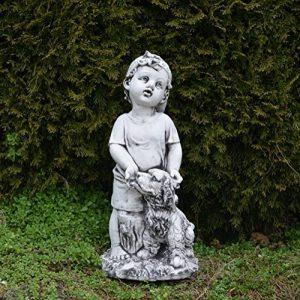 Massive Pierre Figurine jeunes avec chien enfants Figurine Pierre en fonte au gel de la marque gartendekoparadies.de image 0 produit