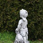 Massive Pierre Figurine jeunes avec chien enfants Figurine Pierre en fonte au gel de la marque gartendekoparadies.de image 1 produit