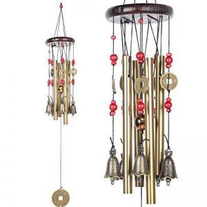 Midore Carillon de jardin, style chinois 4tubes 5Bells Bronze Wind Chimes pour balcon et fil Décoration de la marque Midore image 0 produit