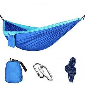 MMTX Camping Hamac 2 Personne Durable Compact Suspendus Parachute Nylon Tissu Camping Couchage Extérieur Jardin Plage Voyage Randonnée Randonnée (Bleu) de la marque MMTX image 0 produit