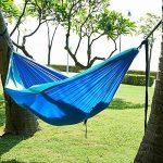 MMTX Camping Hamac 2 Personne Durable Compact Suspendus Parachute Nylon Tissu Camping Couchage Extérieur Jardin Plage Voyage Randonnée Randonnée (Bleu) de la marque MMTX image 2 produit