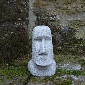 MOAI Statue Pierre de l'île de Pâques Tête visage en pierre Élément Décoration en fonte au gel de la marque gartendekoparadies.de image 0 produit