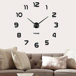 Moderne Mute DIY Frameless Grand 3D Horloge Murale Miroir En Métal Autocollant Grand Montres Home Office Décorations (noir-42) de la marque Vangold image 0 produit
