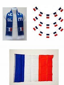 Mondial 2018 - Kit du supporteur de la FRANCE : 1 Echarpe de 130 x 15 cm avec franges + 1 Grand Drapeau en tissu de 140 x 90 cm + 1 banderole de 4 mètres composée de 15 drapeaux de 14 x 20 cm avec attaches à chaque extrémité de la marque Equilibre et Aven image 0 produit