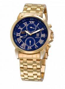 Montre Bracelet Or Classique pour Hommes Cadran Bleu Chiffres Romains Jour Date Affichage Solaire Lunaire Konigswerk AQ101091G-1 de la marque Konigswerk image 0 produit