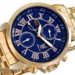Montre Bracelet Or Classique pour Hommes Cadran Bleu Chiffres Romains Jour Date Affichage Solaire Lunaire Konigswerk AQ101091G-1 de la marque Konigswerk image 2 produit