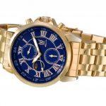 Montre Bracelet Or Classique pour Hommes Cadran Bleu Chiffres Romains Jour Date Affichage Solaire Lunaire Konigswerk AQ101091G-1 de la marque Konigswerk image 3 produit