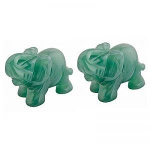 mookaitedecor Aventurine Verte Statuette Elephant Decoration,Figurine Sculpté en Pierre Guérison Statue Décor Table,1.5 Pouces de la marque mookaitedecor image 0 produit