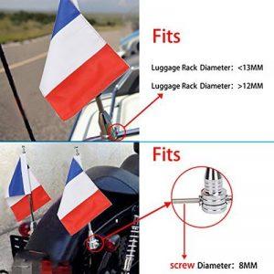Moto support de mât pour drapeau et 6x 9Drapeau France pour Honda Goldwing CB VTX CBR Yamaha Harley Davidson de la marque BOXWELOVE image 0 produit